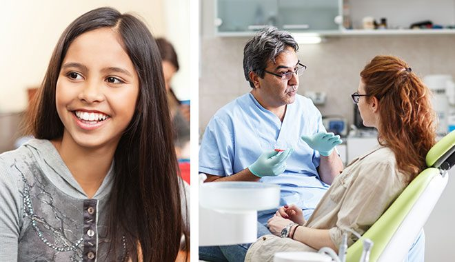 split image - first image showing smiling girl, second image showing dentist talking to patient