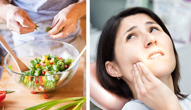 split image - first side bowl of salad second side woman with toothache